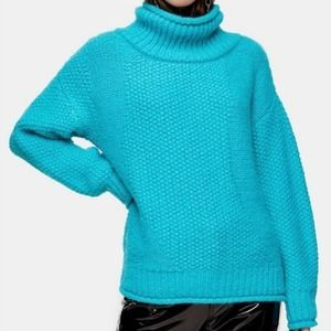 Topshop Sweater Oversize Mixed Textured Roll Neck